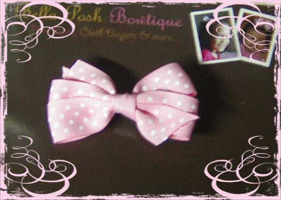 Bitty Pinwheel Bow - Swiss Dots-baby bow, bow, infant bow
