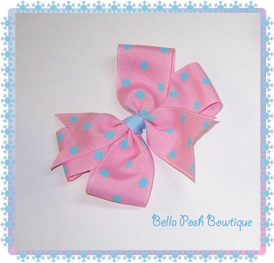 Blue/Pink dots Pinwheel Bow-pinwheel bow