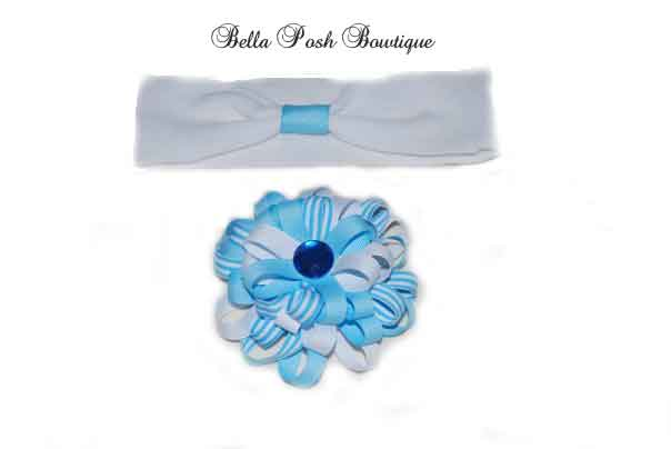 Baby Blue Preppy Flower Bow with Bling (MANY COLORS)-Preppy bow, flower bow, baby blue bow, flower, baby blue flower, headband, baby blue flower bow, flo