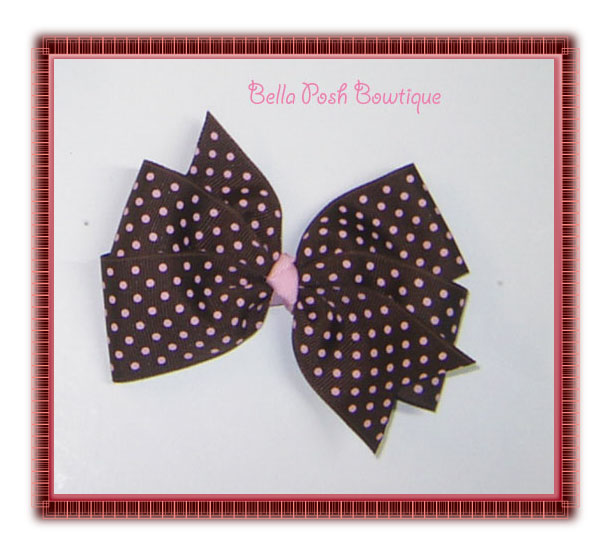 Brown/Pink Swiss Pinwheel Bow-pinwheel bow, pinwheel, large bow, 4 loops bow