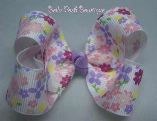Flower Print Twisted Boutique Bow-bow, princess bow