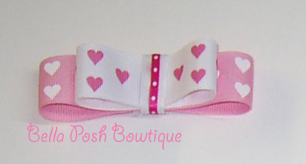 Hearts Layered Tuxedo Bow-tuxedo bow, medium bow, gift bow, gift, valentine's bow
