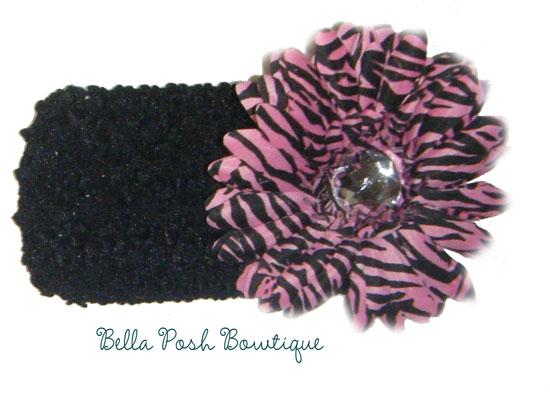 Pink Zebra Flower Headband-flower headband, pink & black, pink zebra, zebra, zebra headband