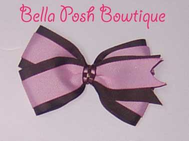 Pink Brown Layered Boutique Bow-Boutique bow , bow