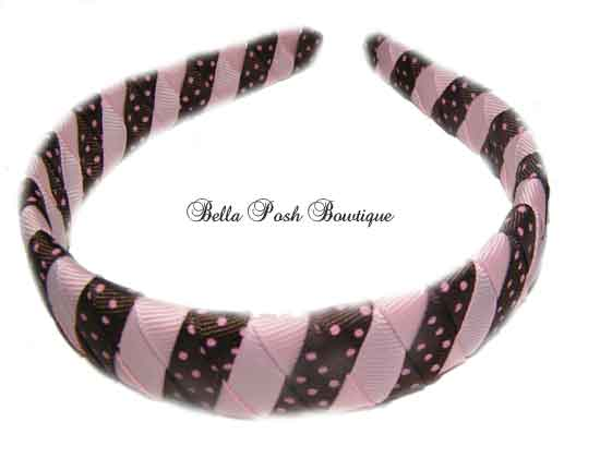 Choco Pink Dots Stripes Woven Headband-Choco Pink Dots Stripes Woven Headband