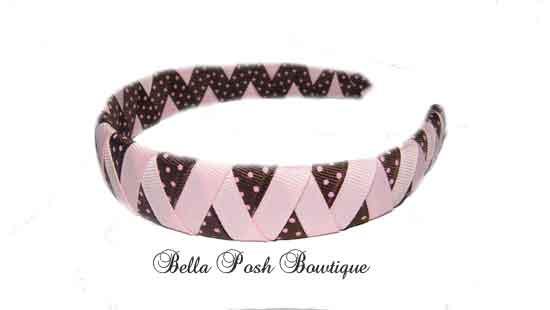 Choco Pink Dots Zig Zag Woven Headband-Choco Pink Dots Zig Zag Woven Headband