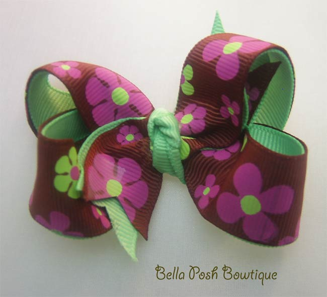 Flower Power Twisted Bow-boutique bow, print bow
