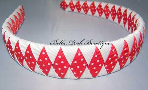Red Swiss Diamond Woven Headband-woven headband