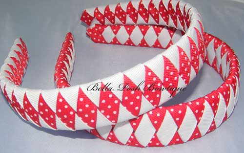 Red Swiss Diamond Woven Headband-woven headband