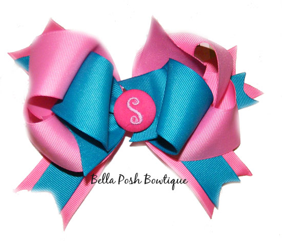 Pink Turqoise Initial Layered Bow-initial bow, monogram bow, layered bow, bow, monogram, initialInitial L