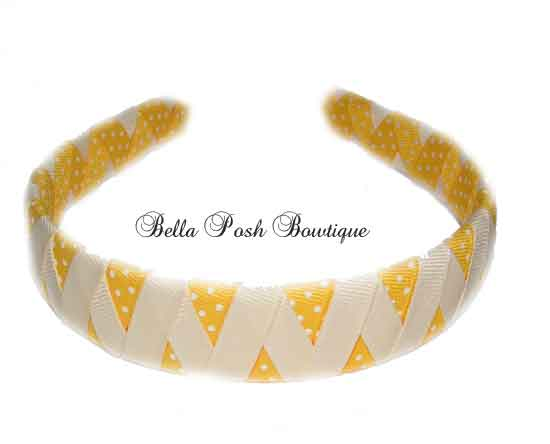 Yellow Banana Zig Zag Woven Headband (Many Colors!)-zig zag headband, woven headband, yellow headband, zig zag.
