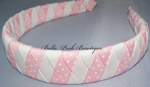 Baby Pink Dots Stripes-woven headband
