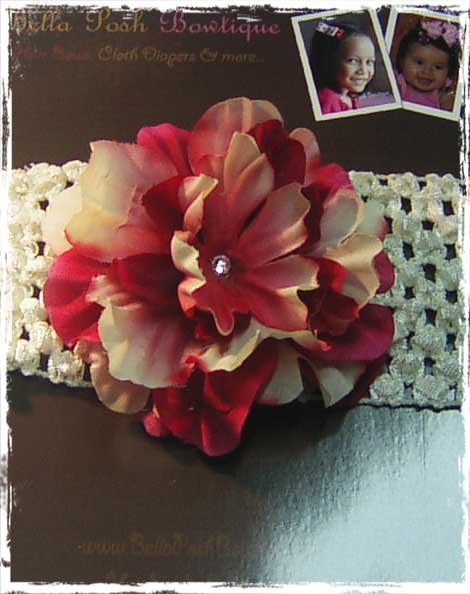 Beige/Red Flower Headband-flower headband, flower, alligator clip