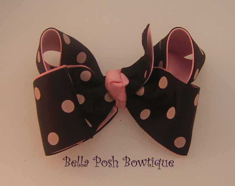 Pink/Blackie Dots Boutique Bow-boutique bow, large bow, black bow