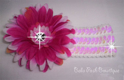 Bling Flower with Bling Band - Dark/Light Pink-