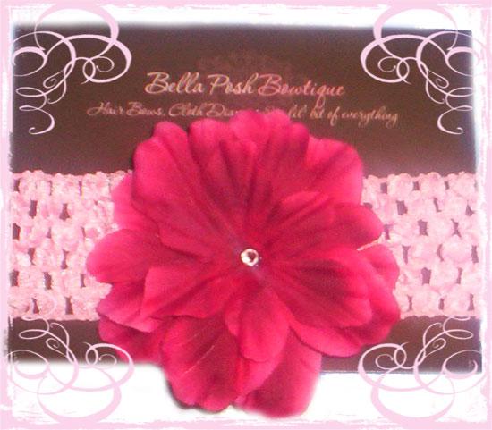 Red Hot Flower Headband-mummy, gift, flower, headband, girl, crochet headband, crochet, crystal, swarovski