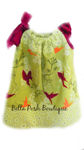 Humming Birds Lime Pillowcase Dress or Top-pillowcase dress, dress, dresses