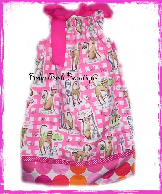 Kitty In Paris with Retro Dots-pillowcase dress, sundress, dress, michael miller, tuxedo bow, bow