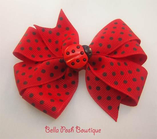 Ladybug Center Bow-ladybug bow, pinwheel bow