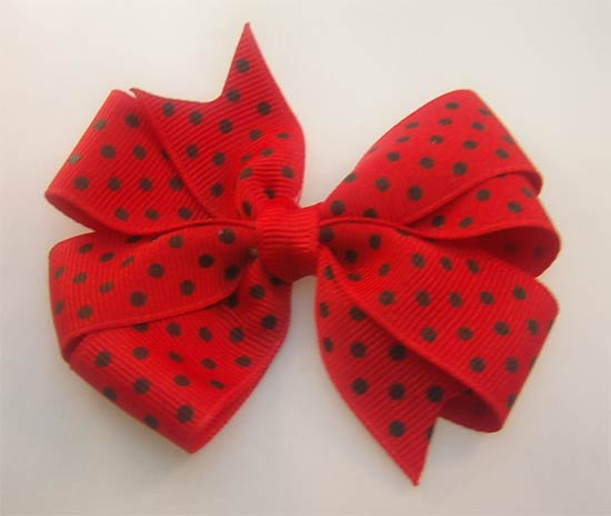 Red/Black Swiss Dots Pinwheel Bow-pinwheel bow
