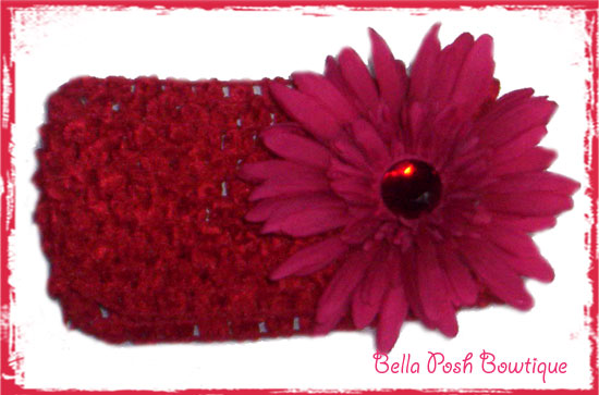Maroon Bling Flower Headband-maroon, daisy, flower, headband