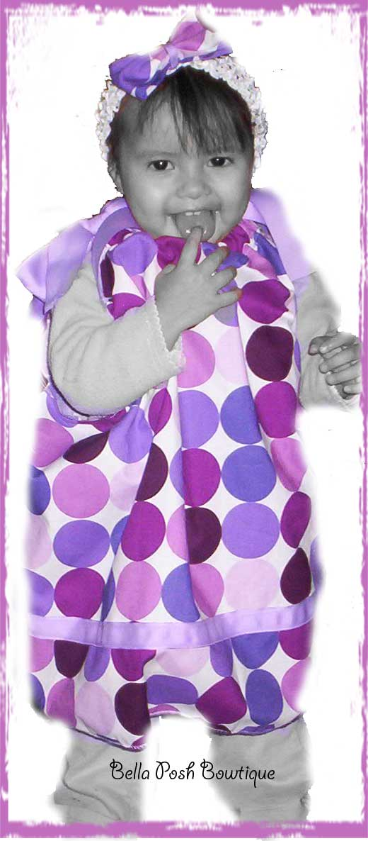 Purple Retro Dots Michael Miller Pillowcase Dress-pillowcase dress, free, pillowcase, sundress,girl, baby, tuxedo bow, bow, fabric bow, match