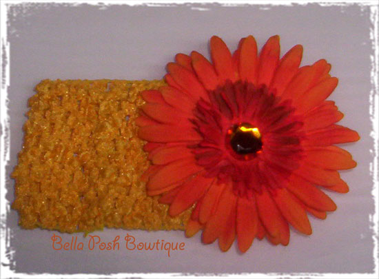 Orange Daisy W/Headband-