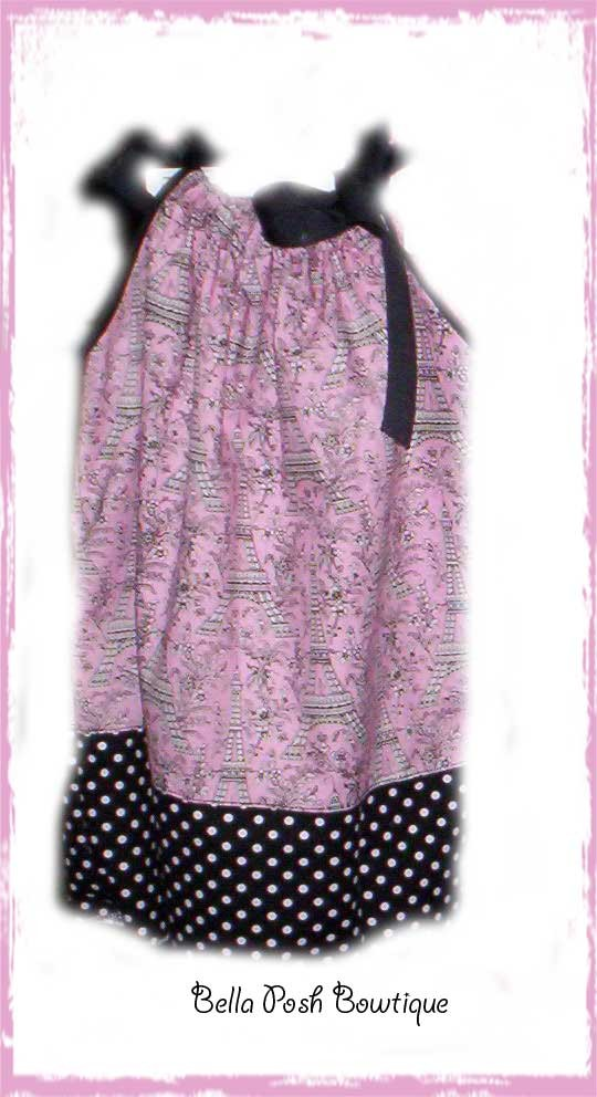 Paris On Pink with Dumb Dots-pillowcase dress, michael miller, free, fabric bow