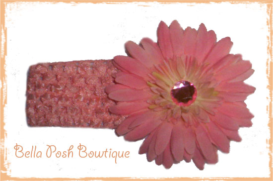 Bling Peach Daisy Flower Headband-peach daisy flower, flower, peach, daisy headband, flower headband, alligator clip