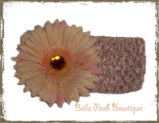 Ally's Bling Peach Flower Band-