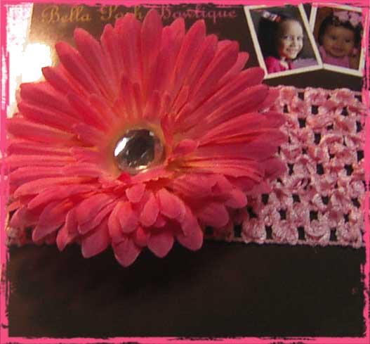 Pink Daisy Flower Headband-pink daisy, daisy, flower headband, headband, alligator clip