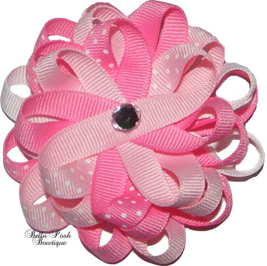 Sweet Baby Pink Dots Flower Bow Bling Center-flower bow, bling, sweet baby pink bow, flower headband