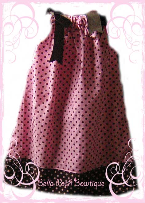 Pink/Mocha Dumb Dots Pillowcase Dress-pillowcase dress, dress, clothing, sundress, michael miller, fabric, girl