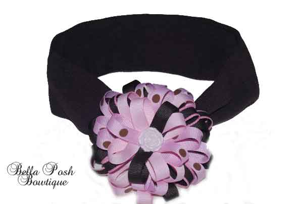 Princess Rose Button Flower Headband Bow-headband bow, rose bow, flower rose bow, flower headband