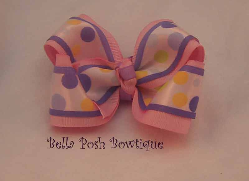 Purple Dots Layered Bow-large bow