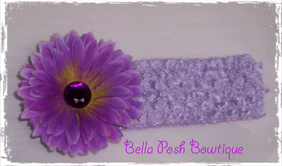 Bling Purple Blossom Flower W/Headband-flower headband