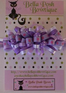 Lilac Bloom Loopy Bow-Purple loopy bow, loopy bows, french barrette