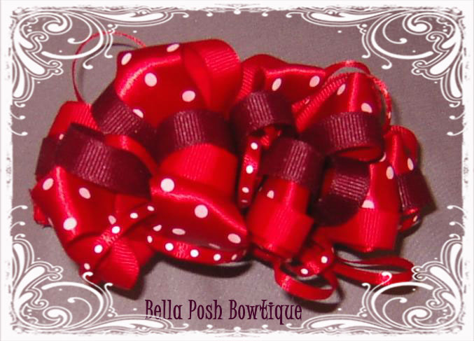 Red Passion Loopy Bow-Red Loopy Bow, Loopy Bow, Red dot loopy bow, swiss dot, loopy, red, ribbon, red ribbon, red bow, red
