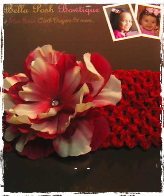 Beige/Red Flower Headband - Red-