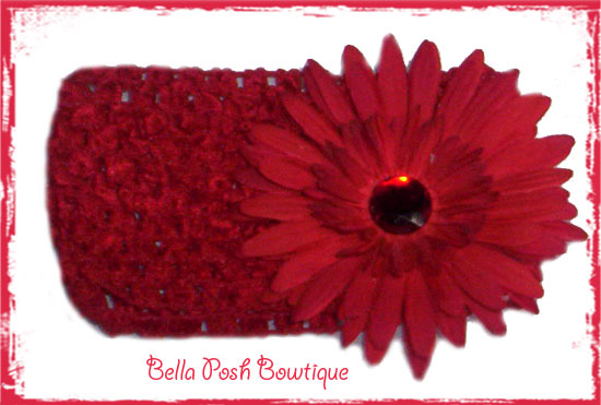 Red Daisy Bling Flower Headband-red daisy, crochet headband
