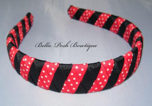 Ladybug Color Stripes-ladybug woven headband, woven headband