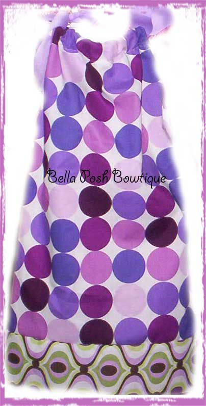 Pillowcase Dress or Top 2 tone Retro Dots with Feeling Groovy Orchid by Michael Miller-pillowcase dress, free, pillowcase, sundress,girl, baby, tuxedo bow, bow, fabric bow, match