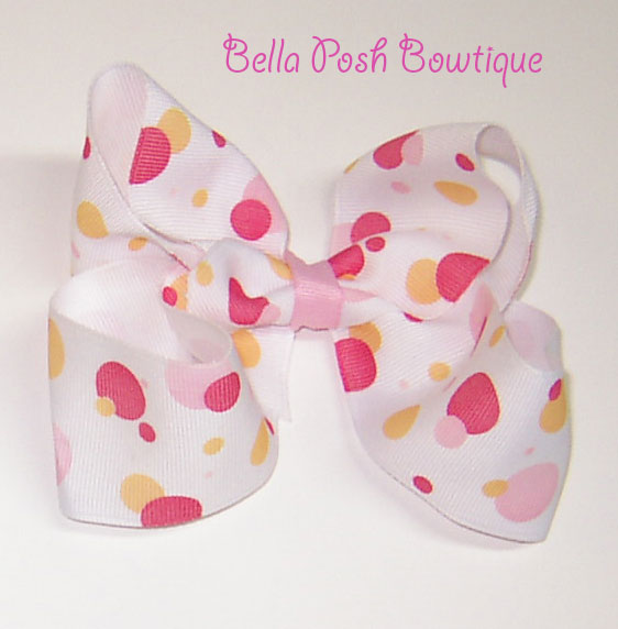 Red/Orange Scattered Dots Boutique Bow-bow