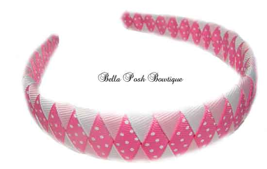 Sweet Baby Pink Diamond Woven Headband-Sweet Baby Pink Diamond Woven Headband
