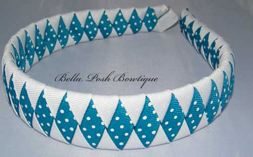 Turqoise Dots Diamond/White Woven Headband-woven headband