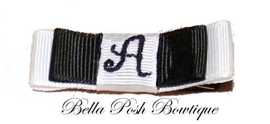 Initially Yours - Monogram Tuxedo Bow SCHOOL THEME-tuxedo bow, monogram bow, monogram, bow, hair bow, school theme, initial bow