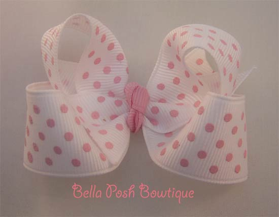 White/Pink Swiss Dots Twisted Bow-bow, swiss dots