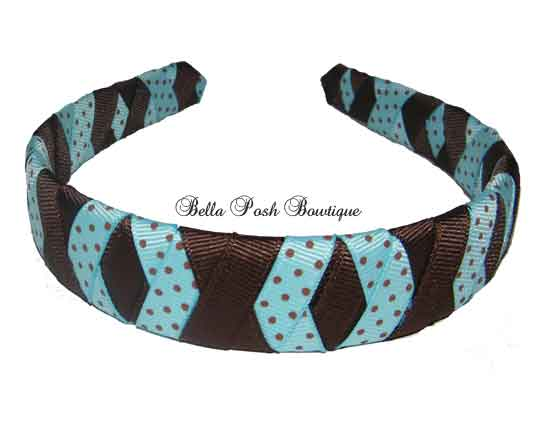 XOXO Blue Dots Woven Headband-XOXO Blue Dots Woven Headband